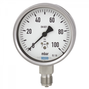 Type 632.50 - Capsule Pressure Gauges, Stainless Steel Series   Without or with Liquid Filling
