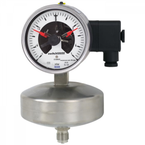 Type 632.51+8xx - Capsule pressure gauge  With switch contacts, stainless steel series, high overpressure protection