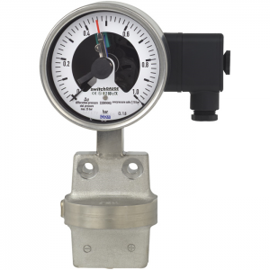 Types DPGS43.100, DPGS43.160 - Differential pressure gauge with switch contacts  All welded construction, stainless steel version