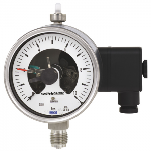 Types PGS23.100, PGS23.160 - Bourdon tube pressure gauge with switch contacts  Stainless steel version