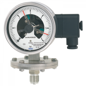 Types PGS43.100, PGS43.160 - Diaphragm pressure gauge with switch contacts  Stainless steel version